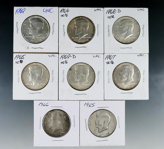 8 Kennedy 40% Silver Half Dollars 1965-1969 VF-BU