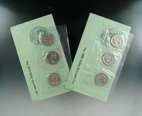 1979 and 1980 Susan B Anthony Dollar Souvenir Sets P,D,S 6 Coins Total