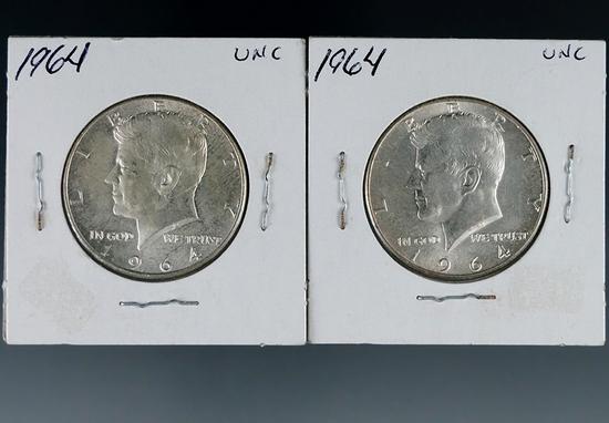 2 1964 Kennedy Silver Half Dollars AU-BU