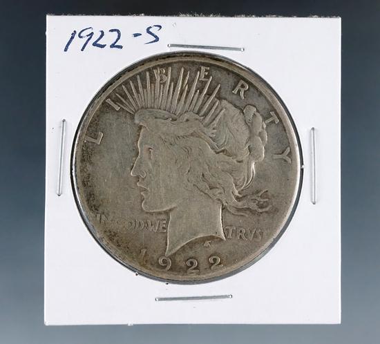 1922-S Peace Silver Dollar F