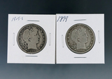 1899 and 1915-S Barber Silver Half Dollars G+