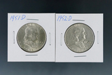 1951-D and 1952-D Franklin Silver Half Dollars XF-AU
