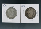 1901 and 1911-S Barber Silver Half Dollars G-VG