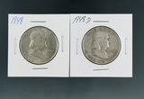 1948 and 1948-D Franklin Silver Half Dollars VF-XF