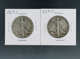 1929-D and 1929-S Walking Liberty Silver Half Dollars G-F