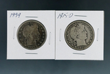 1899 and 1915-D Barber Silver Half Dollars G-VG