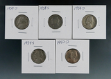 1938-D, 1938-S, 1939-D, 1939-S and 1950-D Jefferson Nickels Better Dates VG-BU