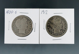1900-S and 1912 Barber Silver Half Dollars G