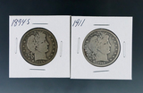 1894-S and 1911 Barber Silver Half Dollars G-VG