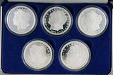 5 Piece Proof Morgan Dollar Silver Plated Bronze Tribute Set