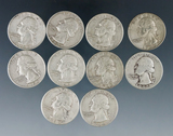 10 Assorted Washington Silver Quarters 1964 or Before VG-XF