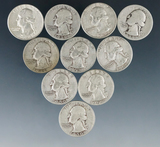 10 Assorted Washington Silver Quarters 1964 or Before AG-AU