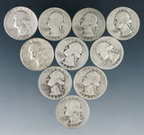 10 Assorted Washington Silver Quarters 1964 or Before G-AU