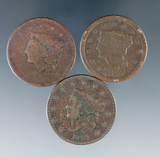 3 US Large Cents 1829, 1835 and1847 AG-VG Details Environmental Damage