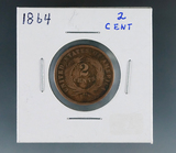 1864 2 Cent Piece AG+ Details Cleaned