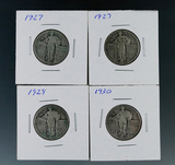 4 Standing Liberty Silver Quarters 2- 1927, 1929 and 1930 G-F