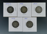 1894-O, 1902, 1907, 1909 and 1914 Barber Silver Quarters AG-G