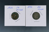 1865 and 1873 Three Cent Nickels VG-F Details Environmental Damage