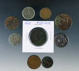 6 Cull Coins 2 Large Cents, 2 Two Cent Pieces and 2 Shield Nickels plus 2 foreign coins and more.