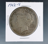 1922-S Peace Silver Dollar F