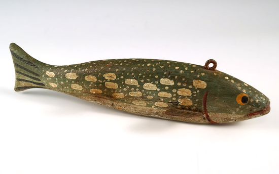 "Vintage painted wood and metal "" long fishing decoy in excellent condition."