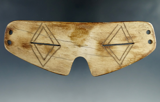 "5 3/4"" nicely styled Inuit bone snow goggles in excellent condition from Alaska."