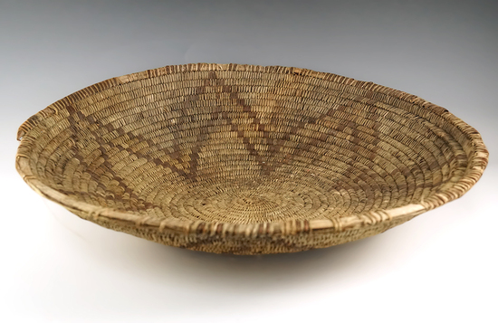"Large! 18"" wide tightly woven African basket with nice design."
