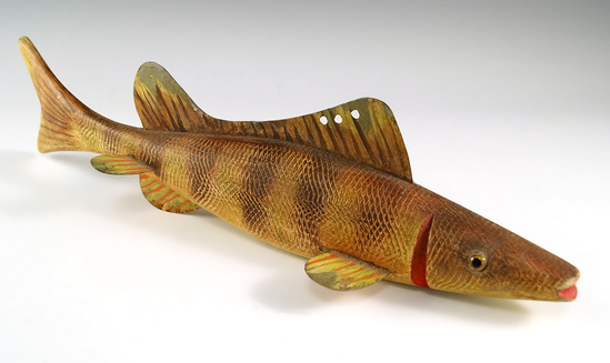 "Vintage painted wood and metal 11 3/4"" long fishing decoy in excellent condition."