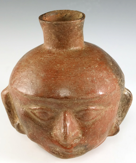 "6"" Tall Moche Head effigy container made from Brownware Terra Cotta - Peru.  COA."