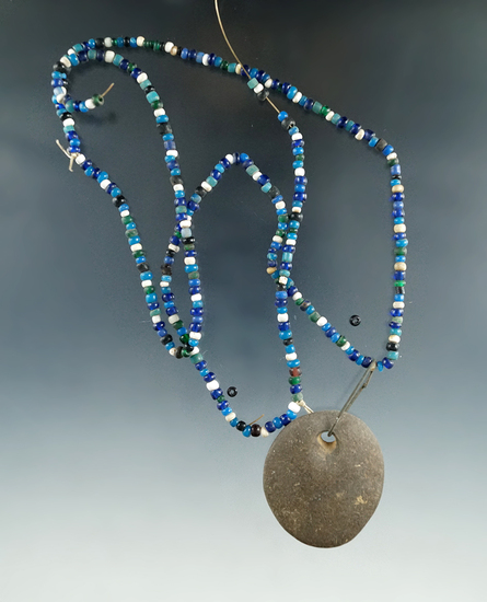 Blues, greens and white seed bead necklace with stone pendant found in New Jersey.