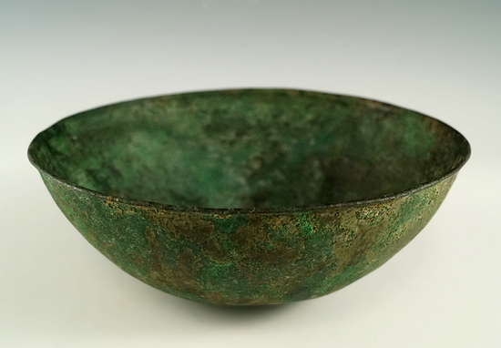 "5 1/2"" bronze Roman bowl in excellent condition with a nice floral stamp pattern on interior."