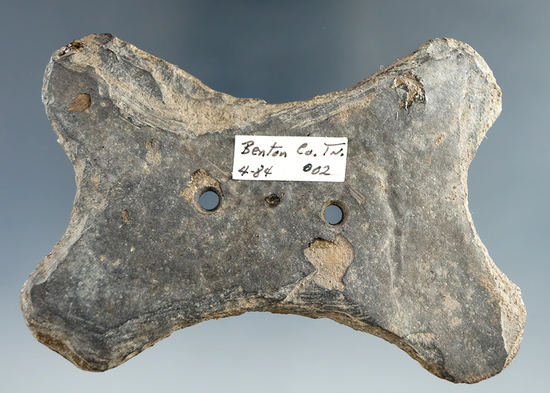 "3 7/8"" Quadra-concave Gorget found in Benton, Tennessee.  Comes with a Dickey COA."