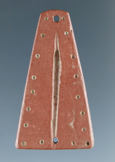 "Nicely decorated 1 5/16"" Trapezoidal Ornament with punctate and incised line design - New York."