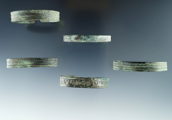 5 copper child's Bracelets in very nice condition found at the Ame's site in Allegheny Co. NY.