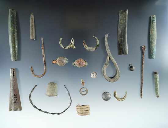 21 assorted artifacts including copper tube beads, thimble, trade rings, fishhooks, etc.  New York.