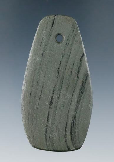 "Miniature 2 5/8"" Trapezoidal Pendant found in May of 1993 by T.J. Pechie in Darke Co., Ohio."
