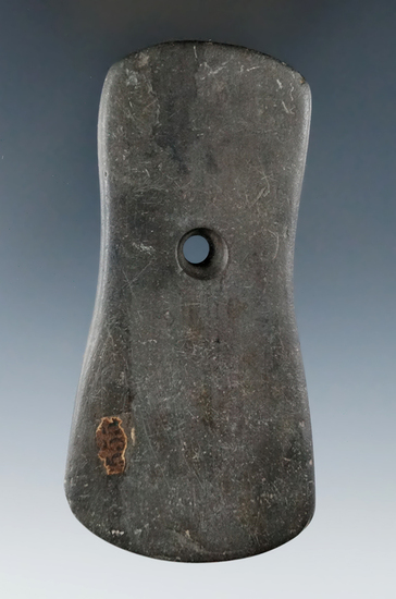 "4 1/8"" Adena Bi-Concave Pendant found in Delaware Co., Ohio. Ex. Edward Payne, Jim Hawks Collections"