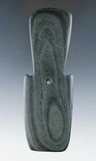 "5"" Hopewell Shovel Pendant made from green and black Banded Slate, found in Ohio. Pictured!"