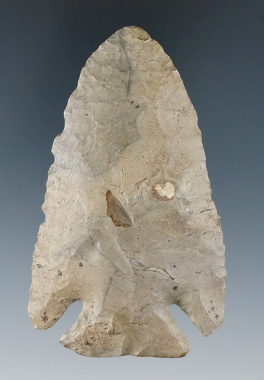 "3 3/8"" Archiac Deep Notch found in Fulton Co., Ohio. Ex. John Ziegler Collection."