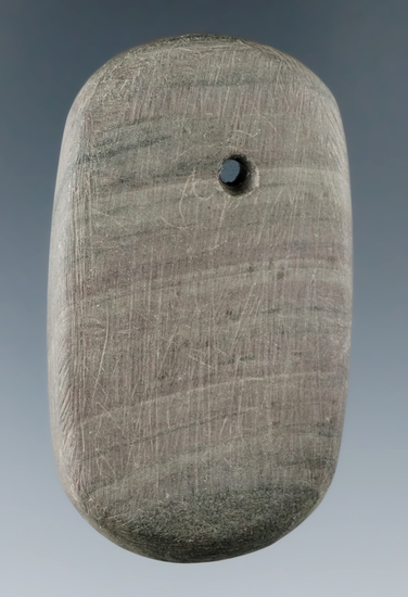 "2 5/16"" Adena Ovate Pendant made from Banded Slate, found in Preble Co., Ohio. Ex. Melvin Gilley"