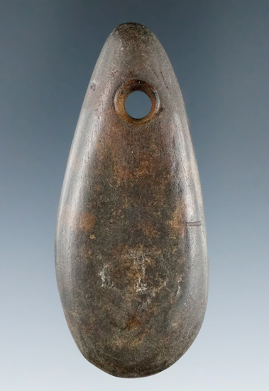 "3"" Mississippian Teardrop Pendant made from Hardstone, Lowellville, Mahoning Co., Ohio."