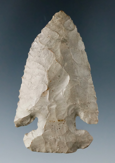 "2 13/16"" Archaic E-Notch made from Delaware Chert, found in Ohio. Ex. Perry Snyder Collection."