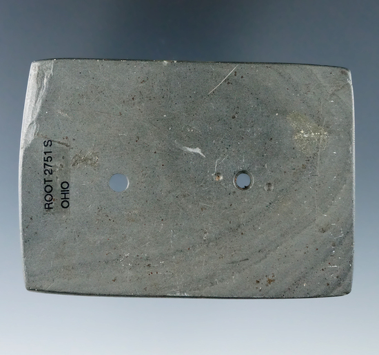 "3 3/16"" Hopewell Rectangular Gorget - gray and black Banded Slate with ""worm tracks"", found in Ohio."