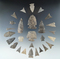Group of 27 assorted flaked artifacts in various conditions, l Noble site, Belmont, Allegheny Co., N