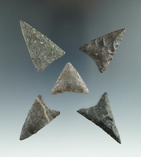 "Set of five well styled triangular arrowheads found near Winney Island, New York. Largest is 1 7/8""."