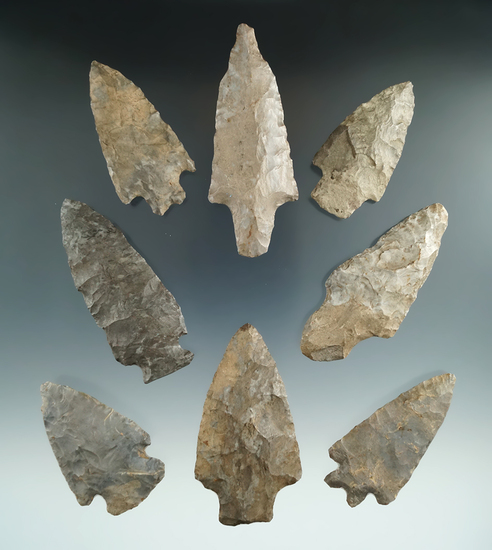 Set of eight assorted Flint points and knives found in Niagara Co., New York.  Ex. Tuttle collection