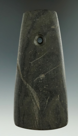 """4 1/2"""" banded slate Trapezoidal Pendant found in Canesteo, New York.   Ex. Harry Arthur."""