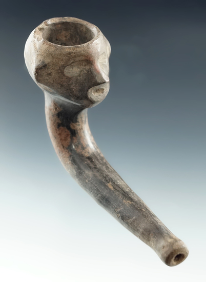 """3 1/4"""" long human effigy ring bowl clay pipe with no restoration. Found in Ontario Co., New York."""