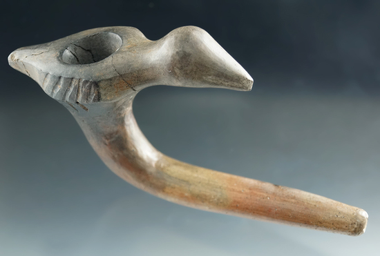 """Pictured - Large and nice! 7"""" long bird effigy clay pipe found in Simcoe Co., Ontario Canada."""