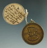 Pictured! 1876 Centennial medal/drop pendant Baron von Steuben and George Washington.